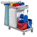 Plastic multi-purpose cleaner's trolley - mod. ca1616 - n. 2 plastic buckets lt.
