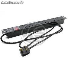 Plastic PDU strip 6 way BS1363 for server rack 19\'\' UK plug with switch (RE85)