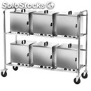 Plate warmer trolley - mod. cpc600 - stainless steel tube structure cm 25x25 -