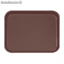Plateau anti-derapant rectangulaire 51x38 cm marron fibre