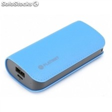 Platinet power bank 5200mah cuero azul+cable