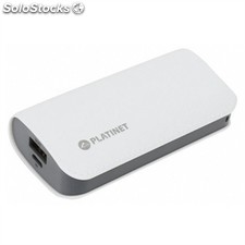 Platinet power bank 5200mah cuero blanco+cable