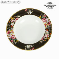 Plato hondo bloom black - Colección Kitchen's Deco by Bravissima Kitchen