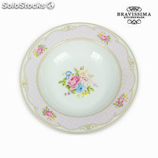 Plato hondo bouquet rosa - Colección Kitchen's Deco by Bravissima Kitchen