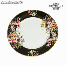 Plato llano bloom black - Colección Kitchen's Deco by Bravissima Kitchen