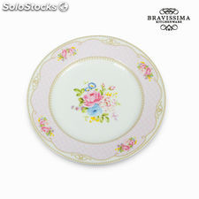 Plato llano bouquet rosa - Colección Kitchen's Deco by Bravissima Kitchen
