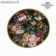 Plato postre bloom black - Colección Kitchen's Deco by Bravissima Kitchen