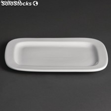 Plato rectangular redondeado Olympia Whiteware - 230x170mm (caja de 12)