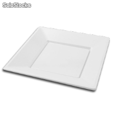 Platos de plastico cuadrados color blanco 230 mm