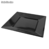 Platos de plastico cuadrados color negro 230x230 mm