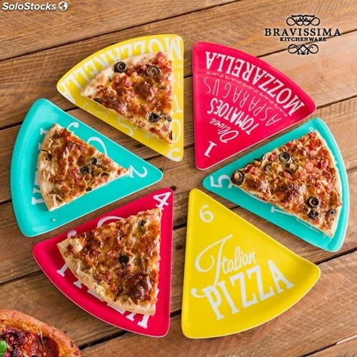 Platos para Pizza Colors Bravissima Kitchen (6 piezas) 6af5272d5caa
