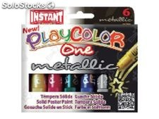 Playcolor caja 6 temperas solidas one metallic 10gr10321