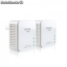 Plc/powerline tenda p200 - hasta 200mbps - 300m - boton de seguridad- plug and