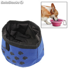 Plegable Tela Dog Pet Travel Food Bowl prueba de agua (azul)