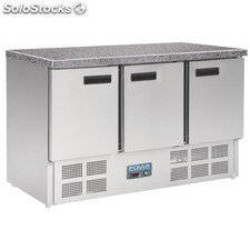 Polar Refrigerated Counter with Marble Work top - 3 doors 368ltr