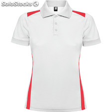Polo Mujer m blanco/rojo sport collection