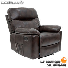 Poltrona de massagem Relax modelo Zurich com recline manual cor Brown