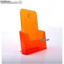 Porte Brochures acrylique orange translucide a4 vertical