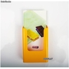 Porte Brochures acrylique polystyrene Jaune Brillance 1/3 a4 vertical Mural - Photo 2