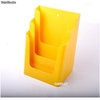 Porte Brochures acrylique polystyrene Jaune Brillance a4 vertical (3 caisses) - Photo 1