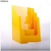 Porte Brochures acrylique polystyrene Jaune Brillance a4 vertical (3 caisses) - Photo 2
