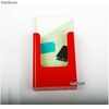 Porte Brochures acrylique polystyrene Rouge Brillance 1/3 a4 vertical Mural - Photo 2