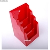 Porte Brochures acrylique polystyrene Rouge Brillance a5 vertical (4 caisses)