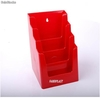 Porte Brochures acrylique polystyrene Rouge Brillance a5 vertical (4 caisses) - Photo 2