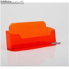 Porte Visuel acrylique orange translucide cartes de visite horizontal 10,5 cm