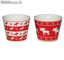 Pots ronds - decor de noel - 2 assortis