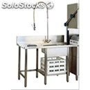 Pre-wash table for dishwasher - left side entry, sink and worktop waste bin with