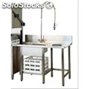 Pre-wash table for dishwasher - rght side entry, sink and worktop waste bin with