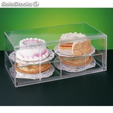 Presentoir patisserie allongé de 2 niveaux 64x33x25,5 cm transparent acrylique