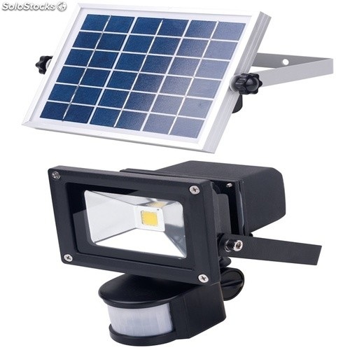 projecteur 10w led avec d tecteur de pr sence batterie panneau solaire. Black Bedroom Furniture Sets. Home Design Ideas