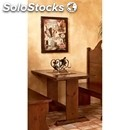 Pub table-mod. 025t15-wooden frame-wood finishes in aniline leather beige,