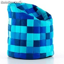 Puff big bean patchwork azul