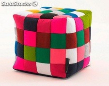 Puff cuadros patchwork multicolor