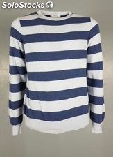 Pullover Girocollo Uomo in misto Cashmere a righe 100% Made in Italy