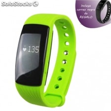 Pulsera leotec fitness touch pulse verde - display tactil 1.24CM - pulsometro -