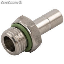 Push-in fitting straight for compressed air stainless steel