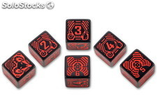 Q-Workshop Set Dados Shadowrun Street Samurai Rojo/Negro (6)