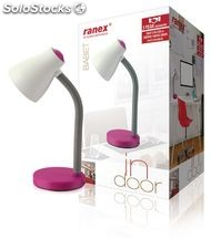 Ranex Lámpara de escritorio, diseño moderno, con cuello flexible, color fucsia,