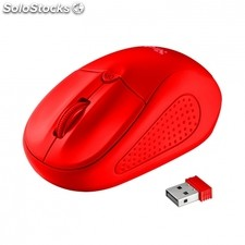 Raton inalambrico trust primo wireless matte red - alcance 8M - 1000/1600DPI -