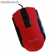 Raton optico approx appomofficer rojo - 1000DPI - plug and play - usb 2.0