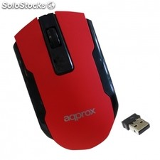 Raton optico inalambrico approx appwmofficer rojo - 1000-1600DPI - plug and play