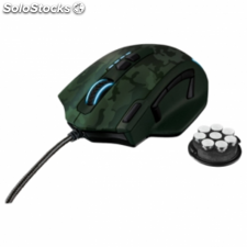 Raton trust gaming gxt155c verde camuflaje - 11 botones programables