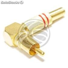 RCA male connector high quality gold with red markings angle (AW33)
