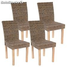 Reacondicionado Lote de 4 sillas de Comedor luca, En Poly Rattan, Color Gris