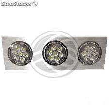 Recessed LED Downlight 3x7W cold day 120x360mm rectangular white 6000K (NQ12)