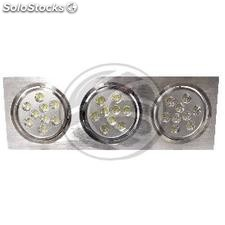 Recesso LED Downlight 3x9W dia frio 139x400mm rectangular 6000K branco (NQ13)
